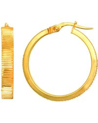 Jewelry Affairs - 14k Yellow Gold Diamond Cut Flat Round Tube Hoop Earrings, Diameter 24mm - Lyst