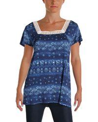 G.H.BASS - G.h. Bass & Co. Womens Juniors Crochet Trim Short Sleeves Casual Top - Lyst