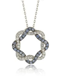 Suzy Levian - Sterling Silver Blue & White Sapphire & Diamond Accent Whimsical Circle Pendant - Lyst
