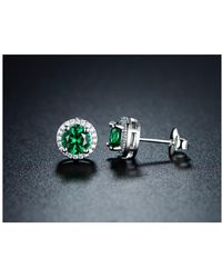 Peermont - 18k White Gold Plated Round Nano Emerald Stud Earrings - Lyst