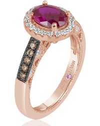 Suzy Levian - Rose Sterling Silver Oval Cut Created Ruby Brown Cubic Zirconia Engagement Ring - Lyst