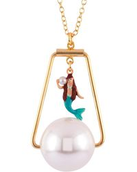 Les Nereides - I Am A Mermaid White Pearl And Litlle Mermaid Charm Necklace - Lyst