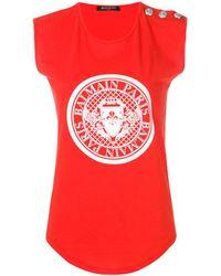 Balmain - Women's Red Cotton Tank Top - Lyst