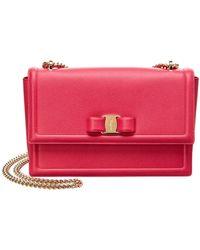 Ferragamo - Ginny Medium Vara Leather Flap Bag - Lyst