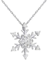 Amanda Rose Collection - Snowflake Pendant-necklace Made With White Swarovski Crystals In Sterling Silver - Lyst