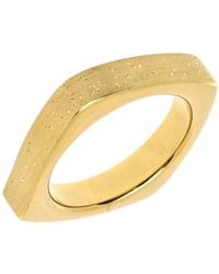 Jewelry Affairs - Sterling Silver With Yellow Plating Square Look Design Stardust Finish Ring - Lyst