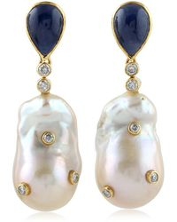 Socheec - Dangling Pearl Earrings With Sapphire - Lyst
