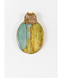 Stephen Dweck - 1 Gold Tone Green Marbled Stone Oversized Pendant - Lyst