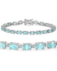 Amanda Rose Collection - Gemstone Tennis Bracelet In Sterling Silver Choose From Blue Topaz Or Peridot - Lyst