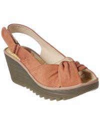 Fly London - Yata Leather Wedge Sandal - Lyst