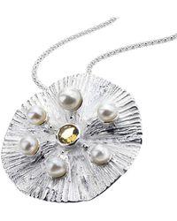 Jewelista - Sterling Silver & Quartz Pearl Pendant - Lyst