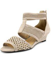 Elie Tahari - Nina Women Open Toe Leather Grey Wedge Sandal - Lyst