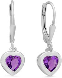 Amanda Rose Collection - Sterling Silver Amethyst Heart Lever-back Earrings - Lyst