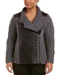 NIC+ZOE - Nic+zoe Plus Leather-trim Cable Jacket - Lyst