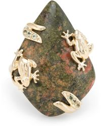 Unbranded - Pre Owned Frog Cocktail Ring Vintage 14 Karat Yellow Gold Jasper Peridot - Lyst