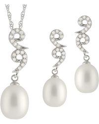 Splendid | Fancy Dangling Cz Pearl Set | Lyst