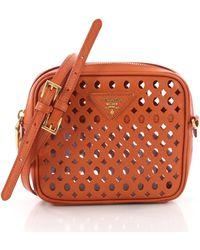 4f6d8b90a3 Prada City Fori Perforated Chain Shoulder Bag in Purple - Lyst