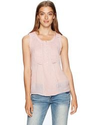 Lucky Brand - Audrey Crochet Trim Sheer Tank Top - Lyst