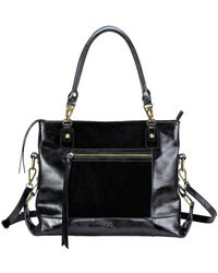 Mofe - Eunoia Distressed Leather And Suede Panelled Shoulder Bag With Adjustable Crossbody Capable Strap - Lyst