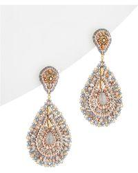 Miguel Ases - 18k Plated & 14k Filled Grey Agate & Crystal Drop Earrings - Lyst