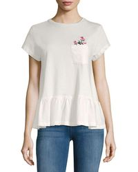 Lea & Viola - Floral Embroidery Ruffle Top - Lyst