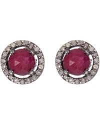 Adornia | Ruby And Champagne Diamond 5mm Echo Halo Stud Earrings | Lyst