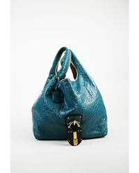 "Loewe - 1 Blue Multicolor Ostrich ""calle"" Oversized Hobo Bag - Lyst"