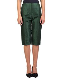 Prada - Women's Silk Capris Pants Emerald Green - Lyst