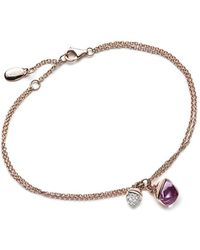 Jewelista - Diamond And Amethyst Charm Bracelet In 14k Rose Gold - Lyst