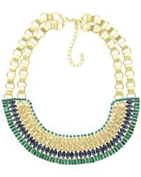 Sparkling Sage - 14k Plated Crystal Bib Necklace - Lyst