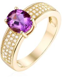Peermont   18k Gold Plated & 3cttw Round-cut Amethyst Ring   Lyst