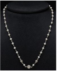 Lois Hill - Silver 4mm Pearl Scroll Necklace - Lyst