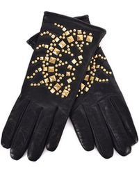 Roberto Cavalli - Black Leather Wool Lined Gold Studded Gloves - Lyst