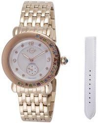 Gv2 - Marsala Gemstone White Leather Iprg Bracelet Watch - Lyst