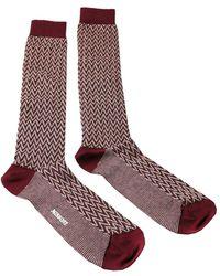 Missoni - Gm00cmu5240 0002 Maroon/cream Knee Length Socks - Lyst