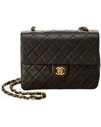 Chanel - Dark Green Quilted Lambskin Leather Small Single Flap Bag - Lyst