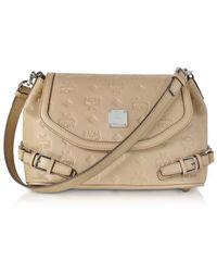 MCM - Women's Beige Leather Shoulder Bag - Lyst