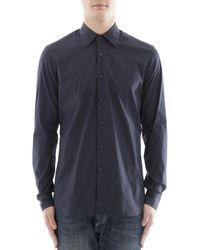 Prada - All Designer Products - Men's Blue Cotton Shirt - Lyst