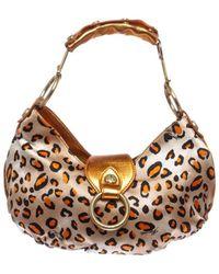 Cesare Paciotti - Pre Owned - Orange Metallic Leather Leopard Print Small Shoulder Handbag - Lyst