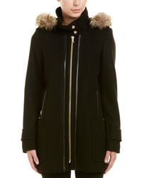 Trina Turk - Allyson Leather-trim Wool-blend Hooded Duffle Coat - Lyst