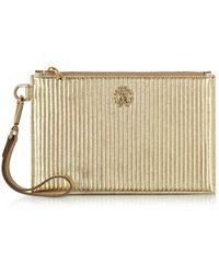 Roberto Cavalli - Women's Gold Leather Clutch - Lyst