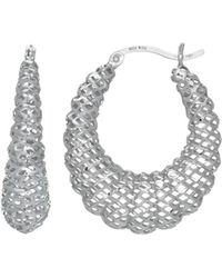 Jewelry Affairs - Sterling Silver With Rhodium Finish Fancy Oval Shrimp Hoop Earrings - Lyst