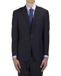 Versace - Collection Men's Wool Three-button Suit Blue Pinstriped White - Lyst