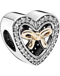 PANDORA - 14k & Silver Cz Charm Bound By Love Charm - Lyst