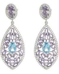Pangea Mines - 925 Sterling Silver Amethyst And Blue Topaz Earrings - Lyst