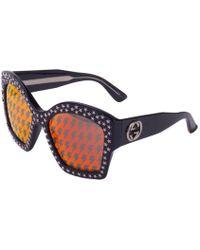 45ebee07ba Gucci - Women s Square Frame Star Sunglasses Black - Lyst