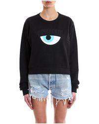 Chiara Ferragni - Women's Black Cotton Sweatshirt - Lyst