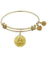 Angelica - Stipple Finish Brass Triquetra Bangle Bracelet, 7.25 - Lyst