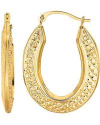 Jewelry Affairs - 10k Yellow Gold Weave Texture Design Oval Shape Hoop Earrings - Lyst
