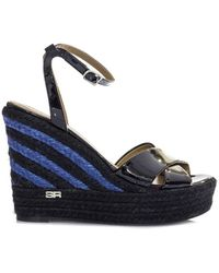 Sonia Rykiel - Women's Blue/black Patent Leather Sandals - Lyst